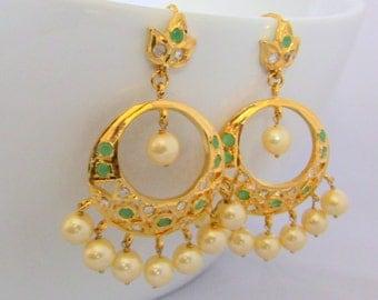 Emerald Stone Pearl Chandelier Earrings