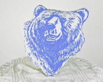 Blue Bear Pillow - Screen Printed Grizzly Bear decorative pillow