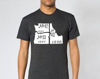 The Pacific Northwest- Oregon, Washington, Idaho shirt; american apparel cotton poly blend unisex mens tshirt; heather black