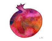 Pomegranate painting, Kitchen print, Watercolor print, Fruit print, Botanical print, Fruit art, Apartment decor, Red art