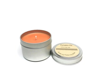 pumpkin pie soy candle tin,  pumpkin pie scented candle,  candle tin