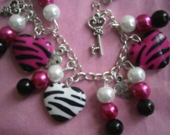 Hot Pink, Black & White Zebra Heart Charm Bracelet