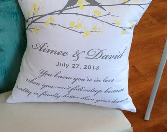 Personalized Lovebirds Wedding Pillow
