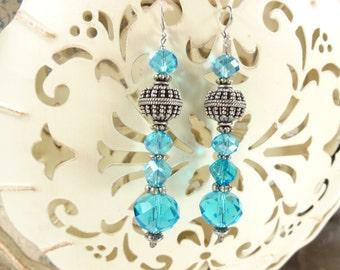 Aqua Crystal Chandalier Earrings.