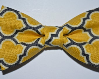 Yellow and gray BOW TIE-clip for kids,Aviary 2 Lodge Lattice Vintage Yellow/yellow and gray wedding accessory,ring bearer bow tie