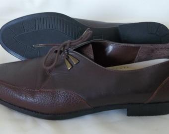 Vintage like NEW Rockport LEATHER Brazil Oxfords BROWN Shoes 7 1/2 Pebbled Schoolgirl