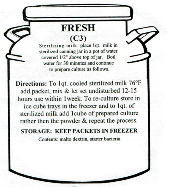 """Artisan DIY Cheese Making """"Fresh"""" Mother Culture- Recultureable"""