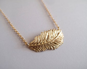 Gold Feather Necklace - Boho Feather Necklace