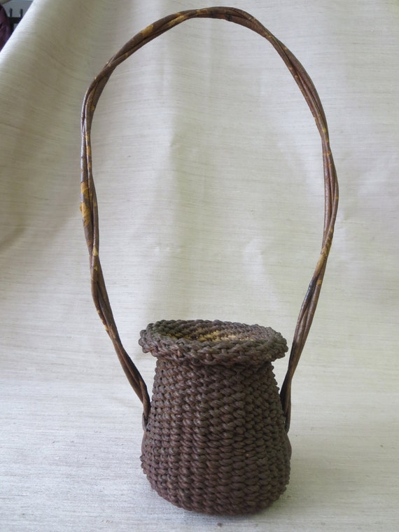 Handmade Rope Basket : Early th century handmade whimsical rope basket