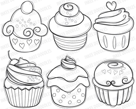 Items similar to cupcake digital stamps cherry cream cupcakes hand drawn sketch food digital - Cupcakes dessin ...