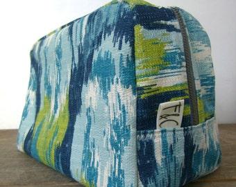 Blue Ikat Toiletry Bag, Bridesmaid Gift, Dopp Kit, Blue Ikat Travel Case, Blue Green Ikat Cosmetic Bag, Graduation Gift