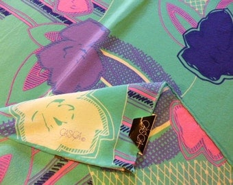 70s CASCA Silk Scarf, All Original Tags, NOS, Never Worn, Teal/Pink/Purple, Hand Rolled, 29 x 30