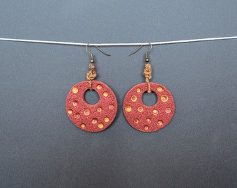 Tribal earrings  polymer clay earrings Dangle earrings Copper earrings Golden earrings Boho earrings Hippie earrings Rustic earrings Round
