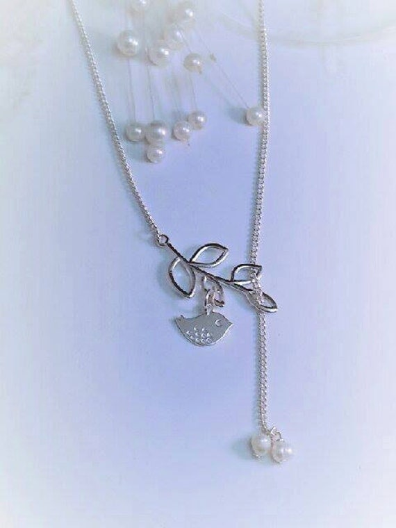 Delicate Leaf tree branch with Dove and Pearl Necklace