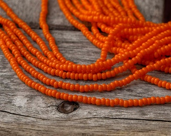 Orange Opaque color Seed Beads (5 strands)