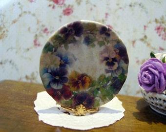 Pansies Vintage Miniature Plate 1:12 scale