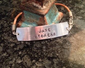 """A """"Just Breathe"""" bracelet."""