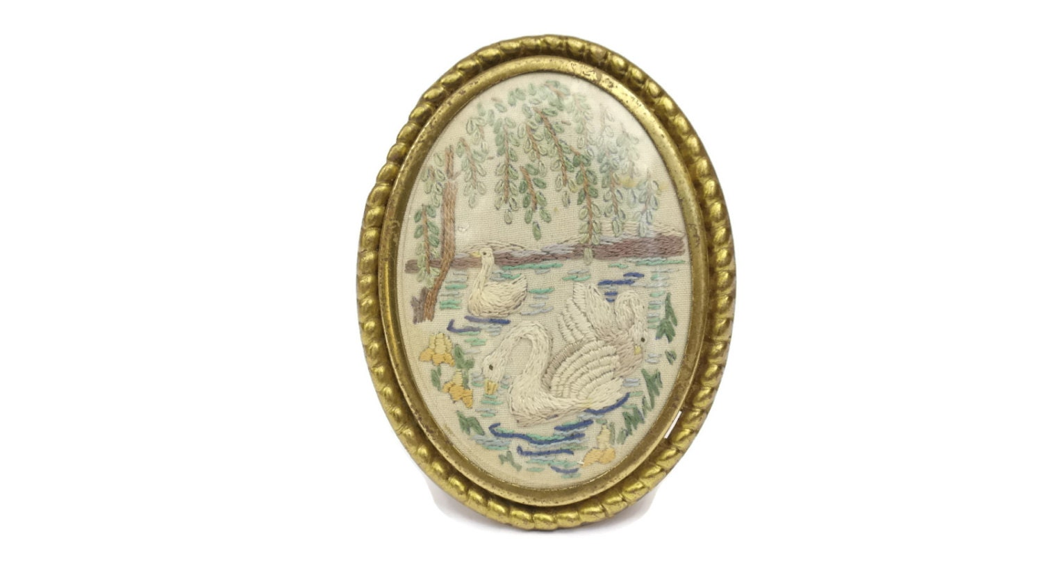 10% OFF Antique Embroidery in Gold Frames. Set of 3 Miniature Frames ...
