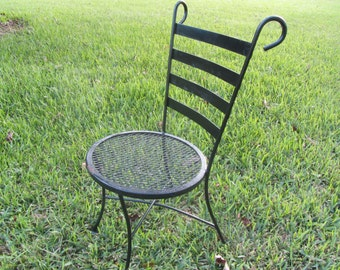 Vintage Bistro Chair, Wrought Iron Chair, Retro Chair, Metal Chair, Black,