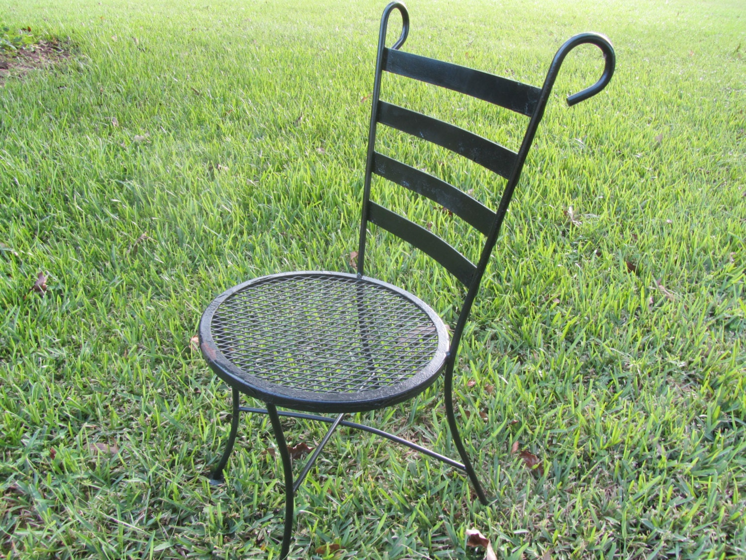 Vintage bistro chair wrought iron chair retro chair metal - Vintage wrought iron chairs ...