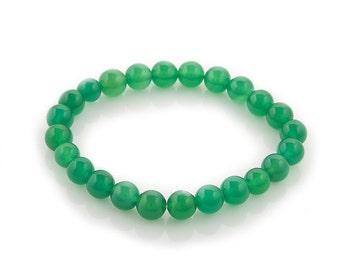 Stretch beaded bracelet green agate 8mm | elastic beaded semi precious stone