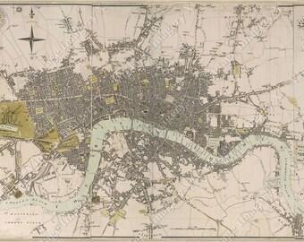 Vintage Historic London England 1807 Old Antique Restoration Hardware Style Map Fine Art Print