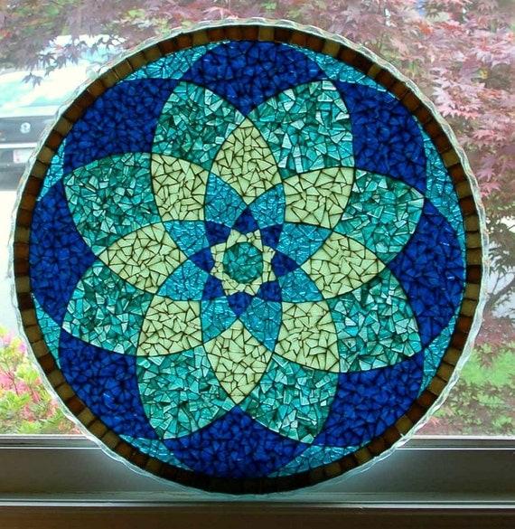 Blue Mandala Glass Mosaic Translucent Tabletop