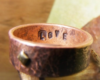 Love / Square Brass Rivet and Copper Ring
