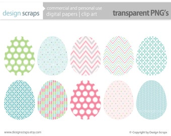 easter eggs clip art graphics, patterned eggs digital clipart personal and commercial use - easter eggs emma  - INSTANT DOWNLOAD