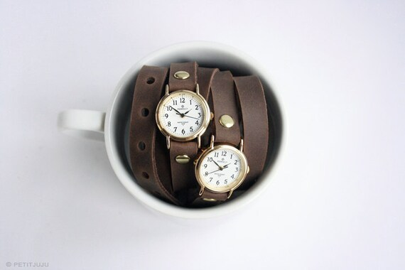 free shipping - unique brown leather bracelet wrap around wrist with 2 two gold watch faces