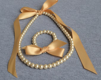 champagne pearl set,champagne ribbon  set. Little Girl Pearl and ribbon Necklace and Bracelet set ,flower girl gift or first pearls.