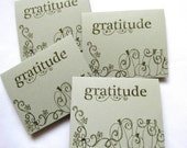 Small Thank You Cards - Set of 4 Thank You Cards - Small Gratitude Cards - Autumn Theme - Green Cards - Blank Card - Hand Stamped - Pumpkins