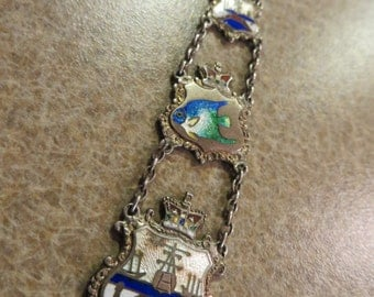 Antique Victorian Sterling silver Enamel Long Fob Pendant