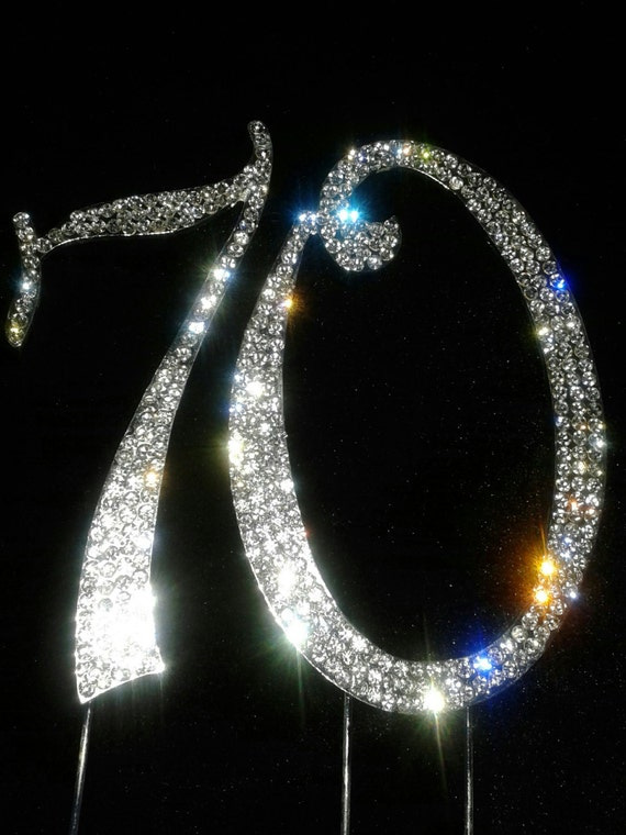 monogram number 70 cake topper sliver bling with rhinestones
