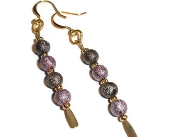 Sparkly earrings Pearly Earrings Purple earrings Stardust and goldtone earrings