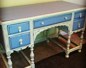 Cottage Chic Old White and Louis Blue Shabby Chic Writing Desk