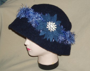Blue Upcycled Felted Wool Hat with frill headband and flower with vintage pin