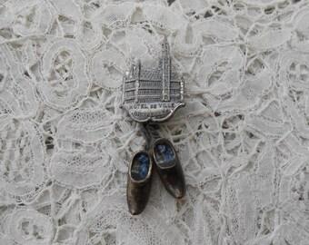 Souvenir clog brooch 1930's