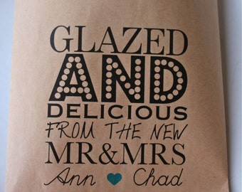 Wedding Favor Bags - Glazed and Deliciou s-Personalized Favor Bags/ Donut Favor Bags