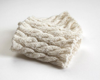hand-knitted boot cuffs/ boot toppers/ boot buffers/ ivory
