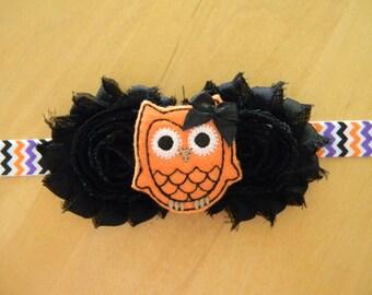 Halloween owl shabby flower baby/toddler headband