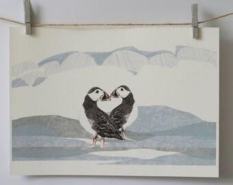 Puffin Birds A3 print