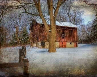 Michigan Barn, Ada Michigan Winter Photography, Snow Fence, Wall Art, Winter Decor, Fine Art Prints, Brown, Orange Wooden Barn, Print, Art