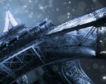 Eiffel Tower, Paris France, French, Paris Photography, Eiffel Tower Photography, Blue Bokeh Art, Photo, Print, Fine Art Photography, Eiffel
