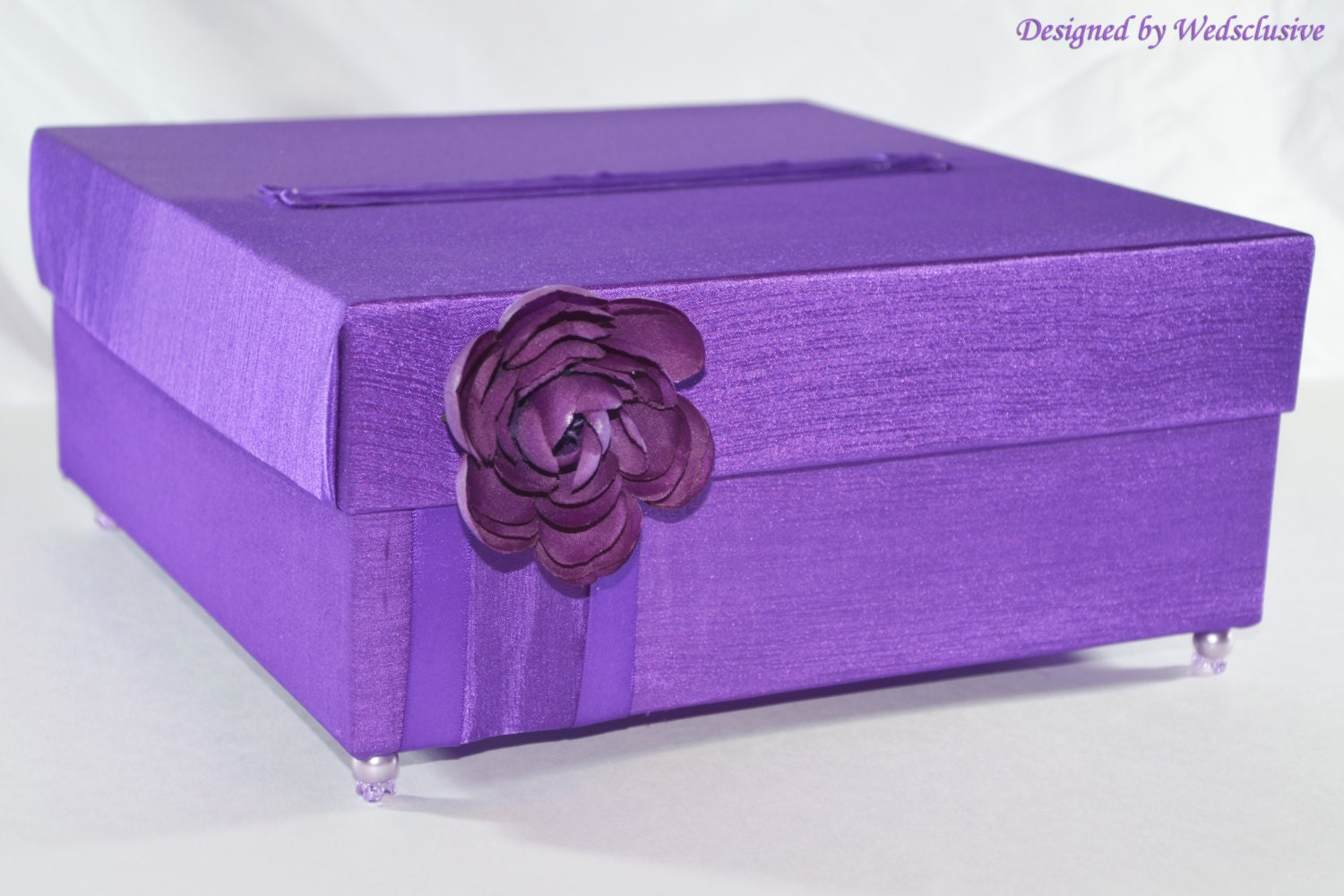 purple wedding card box money box gift card box by wedsclusive