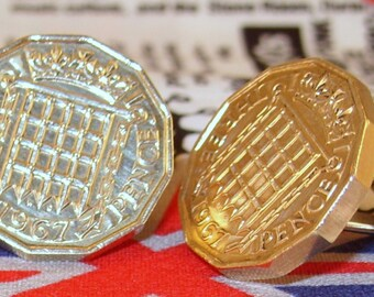 Boxed Pair Vintage British 1967 Threepence 3d Coin Cufflinks Wedding 50th Birthday