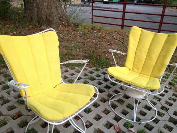 Items similar to HOMECREST PAIR of Mid-Century Outdoor Rocker Chairs WITH Original Bright Yellow ...