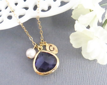 Personalized Necklace, Mothers Day, Purple Stone and Pearl, Gift for Her, Gift for Best Friend, Birthday Gift, Gift for Mom, Gemstone