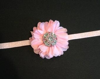 Pink, Gray Headband - Sparkly Rhinestone Baby Girl Headband - Pink Chiffon Flower - Glitter Headband
