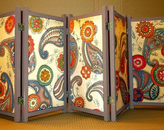 Room divider etsy for Painted screens room dividers